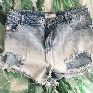 High waisted denim shorts dark to light